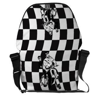 Retro style check scooter boy and girl commuter bag