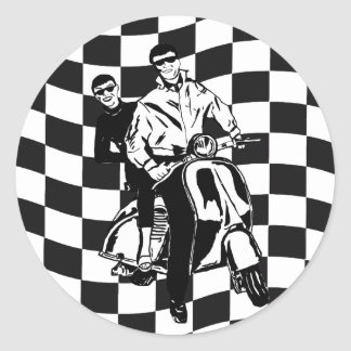 Retro style check scooter boy and girl classic round sticker