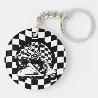 Retro style check scooter couple Double-Sided round acrylic keychain