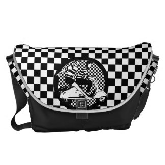 Retro style check scooter couple messenger bags