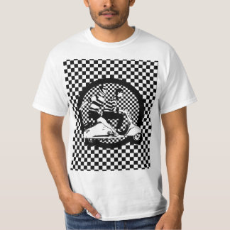 Retro style check scooter couple T-Shirt