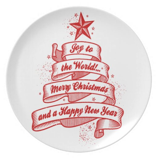 Retro Style Christmas Holiday Joy Red + White Dinner Plates