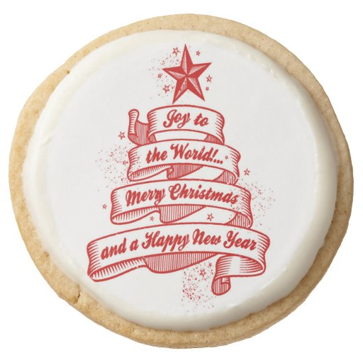 Retro Style Christmas Holiday Party Gift Cookies Round Premium Shortbread Cookie