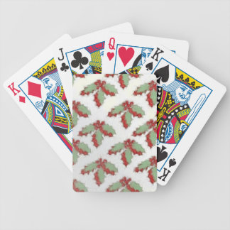 Retro Style Christmas Holly Bicycle Playing Cards