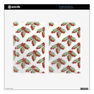 Retro Style Christmas Holly Kindle Fire Decal