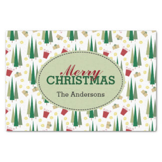 Retro Style Christmas Pattern, Personalized Tissue Paper