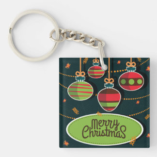 Retro style colorful Christmas greeting Keychain