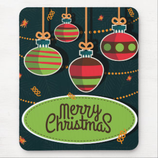 Retro style colorful Christmas greeting Mouse Pad