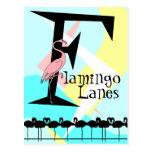 Retro Style Flamingo Lanes Postcard aquas pink