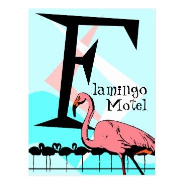 Professional Business Retro Style Flamingo Lounge Postcard aquas pink