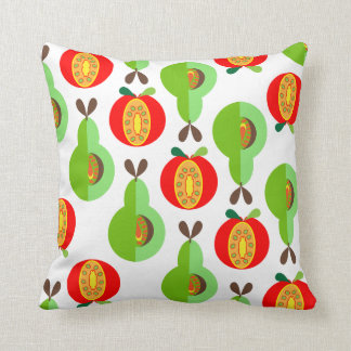 Retro Style Fruit Apples and Pears Pattern Throw Pillow