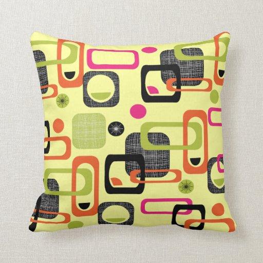 Throw Pillows Vintage Fabric : Retro Style Geometric Fabric Print Throw Pillow Zazzle