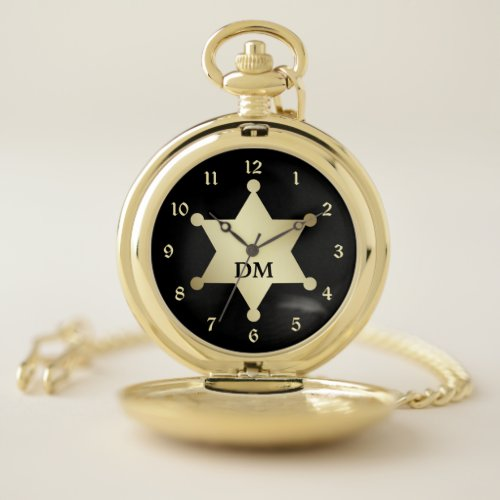 Retro Style Gold Sheriff Star Pocket Watch