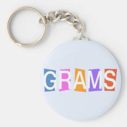 Basic Button Keychain with Retro Grams design