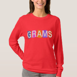 Women's Basic Long Sleeve T-Shirt with Retro Grams design