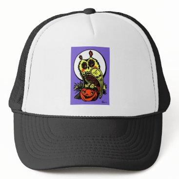 Halloween Themed Retro Style Halloween Owl Trucker Hat