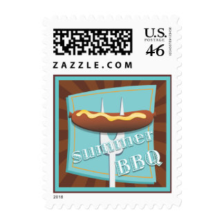 Retro Style Hot Dog Summer BBQ Party Postage