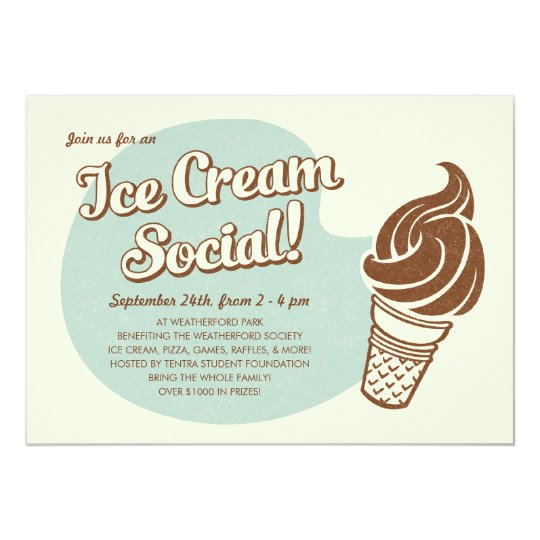 Retro Style Ice Cream Social Invitations