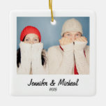 Retro Style Instant Photo Christmas Square Ornament