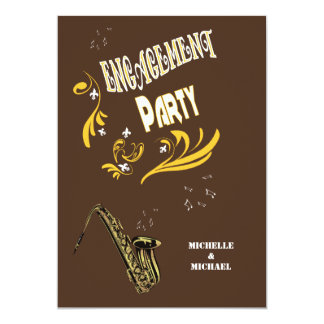 Retro Style Jazz Engagement Party Card