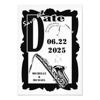 Retro Style Jazz Magnetic Save The Date Magnetic Card