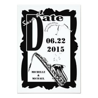 Retro Style Jazz Save the Date Black White 2 Custom Invitations