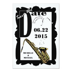 Retro Style Jazz Save The Date Black White 3 Card at Zazzle