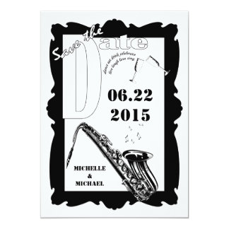 Retro Style Jazz Save the Date Black White Card