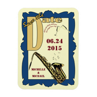 Retro Style Jazz Save the Date Magnet