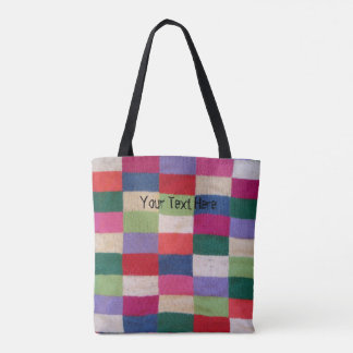 retro style knitted patchwork shabby chic design tote bag