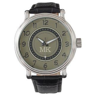 Retro Style Loden Green. Monogram Men's Classic Wrist Watch