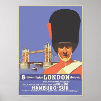 Retro style London travel ad Poster