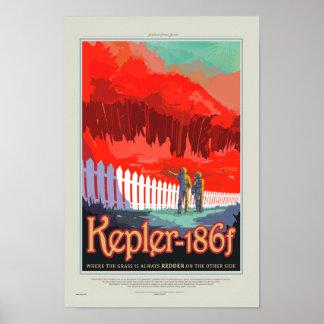 Retro Style NASA Travel Poster - Kepler 186f Tour