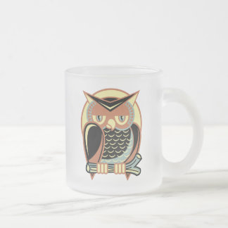 Retro Style Owl Frosted Glass Coffee Mug