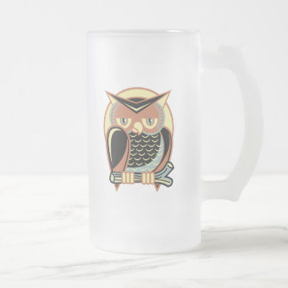 Retro Style Owl 16 Oz Frosted Glass Beer Mug