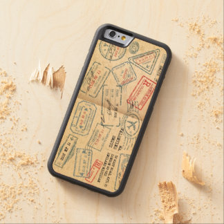 Retro Style Passport Stamps Gifts for Travelers Carved Maple iPhone 6 Bumper Case