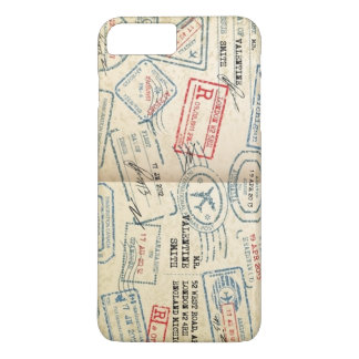 Retro Style Passport Stamps Gifts for Travelers iPhone 8 Plus/7 Plus Case