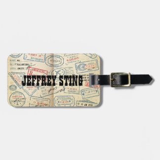 Retro Style Passport Stamps Gifts for Travelers Luggage Tag