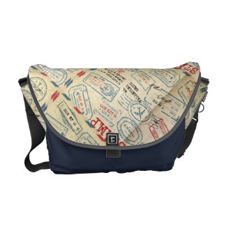 Retro Style Passport Stamps Gifts for Travelers Messenger Bags