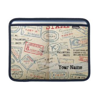 Retro Style Passport Stamps Personalized Gift MacBook Sleeve