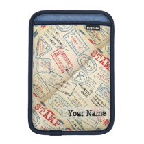 Retro Style Passport Stamps Personalized Gift Sleeve For iPad Mini