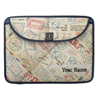 Retro Style Passport Stamps Personalized Gift Sleeve For MacBooks