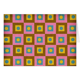 Retro Style Pattern in Pink, Brown Yellow & Blue Card
