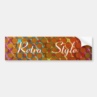 Retro Style Pattern of Orange Dots Car Bumper Sticker