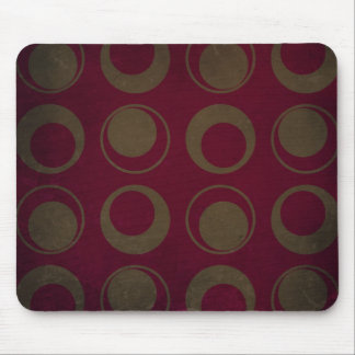 Retro style pattern sage circles on burgundy mouse pad