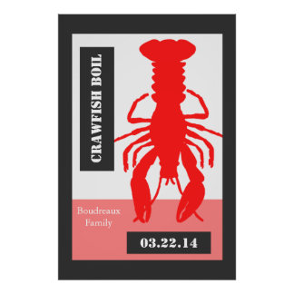 Retro Style Personalized Crawfish / Lobster Poster