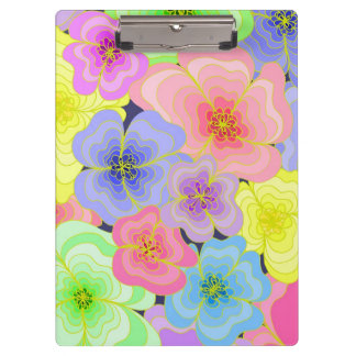 Retro style pretty flowers in many colours clipboard