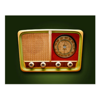 retro style radio postcard