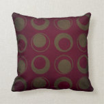 Retro style sage circles on burgundy background pillows