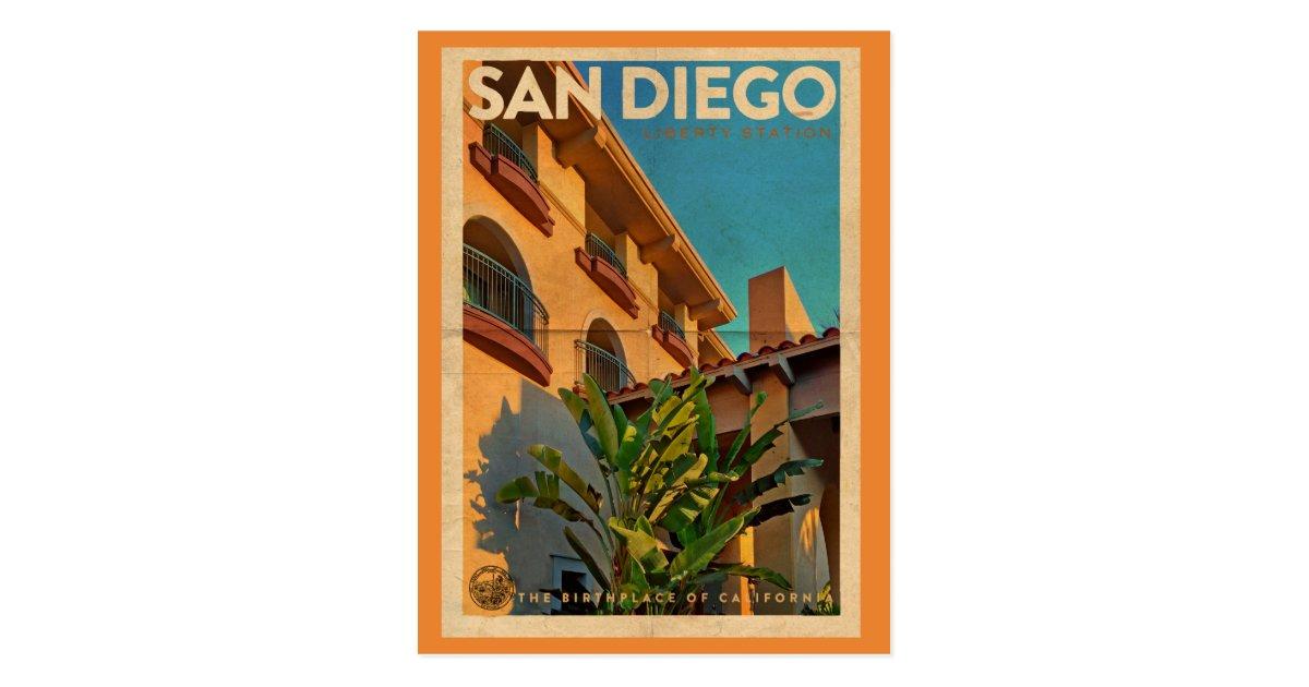 Retro Style San Diego California Postcard